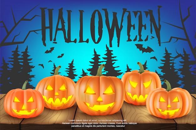 Украшение хэллоуина. страшные тыквы. иллюстрация