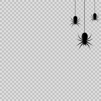 透明な背景にクモをぶら下げてハロウィーンの装飾。ベクター