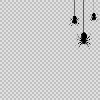 Halloween decoration with hanging spiders on transparent background. vector