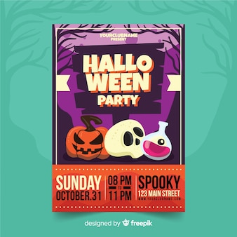 Halloween decorations halloween party flyer