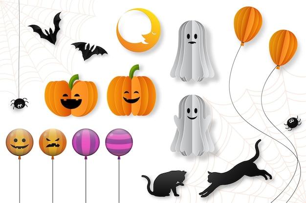 Хэллоуин декоративные элементы в стиле вырезки из бумаги, векторные иллюстрации