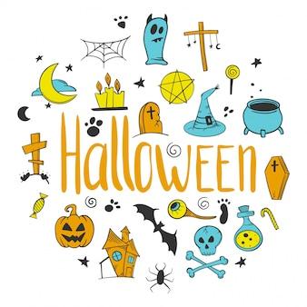 Halloween decorative elements set. pumpkin and cauldron