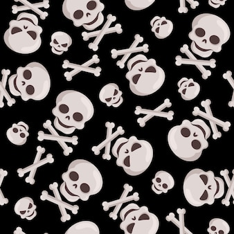 Хэллоуин декоративный бесшовный образец с черепами и костями