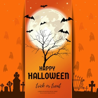 Halloween design. the dried tree in the cemetery with ghosts against the background of the full moon.