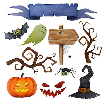 Halloween design elements set