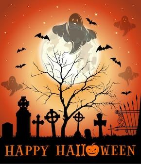 Дизайн на хэллоуин. поздравительная открытка на хэллоуин с кладбищем с привидениями. иллюстрация