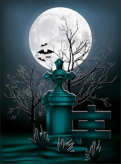 ハロウィーンのデザイン、イラストの月の光の下での墓石。