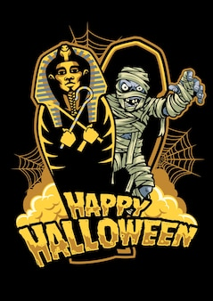 Halloween design mummy out from sarcophagus