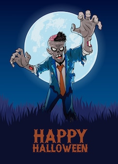 Halloween design with zombie in cartoon style