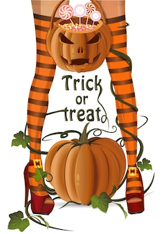 Halloween design. woman, jack o lantern bag with lollipops candy. trick or treat. halloween card