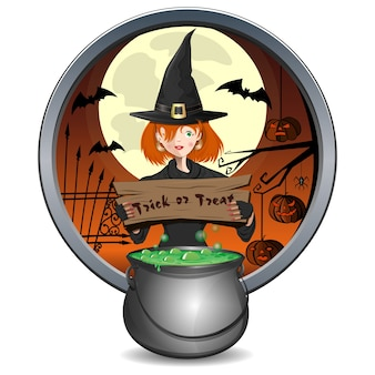 Halloween design. young witch holding a sign with the inscription - trick or treat. magic cauldron of green brew