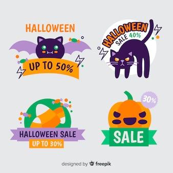Halloween discount badge collection Free Vector