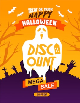 Halloween discount flyer or banner template, with spooky ghost and cemetery as   illustration