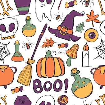 Halloween doddles, vector seamless pattern.