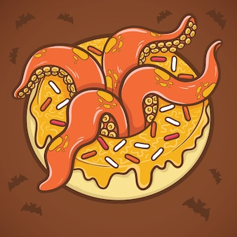 Halloween donut with tentacles of octopus illustration