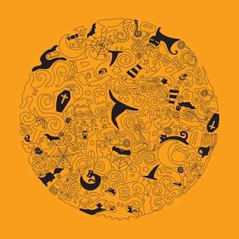Halloween doodle art illustration. editable stroke.