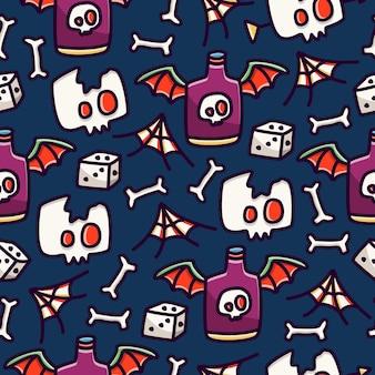 할로윈 낙서 만화 완벽 한 패턴 디자인