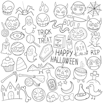 Halloween doodle holidays party clip art