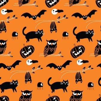 Halloween doodle seamless background