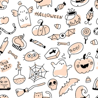 Halloween doodle seamless pattern holiday characters and horrible elements hand drawn cartoon