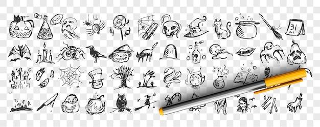 ハロウィン落書きセット。手描きの鉛筆スケッチのコレクションは、透明な背景にコウモリ、カボチャ、ゾンビ、フクロウ、ゴットの生き物のテンプレートパターンです。諸聖人の日のシンボルのイラスト。