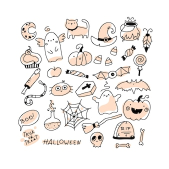 Halloween doodle set holiday characters and horrible elements in simple hand drawn cartoon