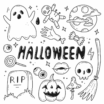Halloween doodle set vector illustration with isolated elements