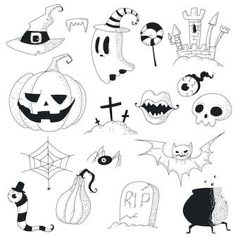 Halloween doodles icon set.