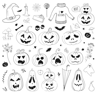 Halloween doodles vector set carved pumpkins ghost bat skull witch hat candle