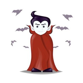 Halloween dracula vampire costume cartoon character vector illustration. boy in vampire costume draculas. evil horror monster spooky scary fantasy kid.