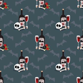Halloween drink seamless pattern.