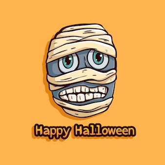 Halloween egypt mummy with funny expression on orange background