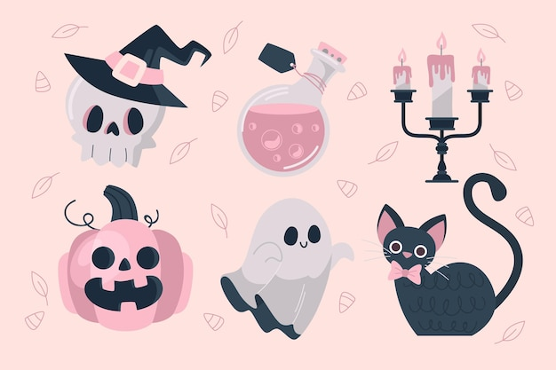 Halloween element collection flat design