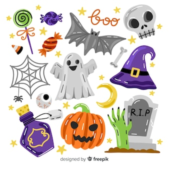Halloween element collection with spooky accessories