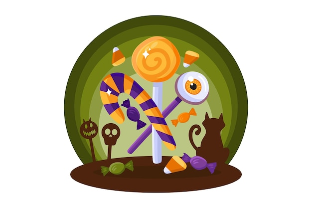 Halloween element for decoration or invitation design with scary sweets for kids. creative sticker or label on white background. treat or trick concept. vector illustration