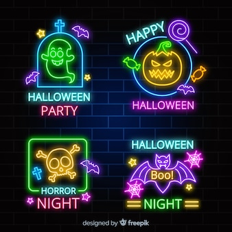 Halloween element neon sign collection