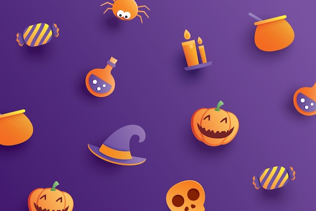 Halloween element object in paper art style on purple background.
