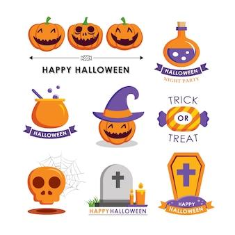 Символ элемента хэллоуина установлен плоский соизволить. символы для веб-сайта, печати, журнала, наклейки и значка.