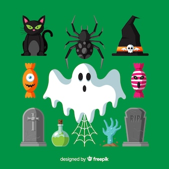 Halloween elements collection in flat design