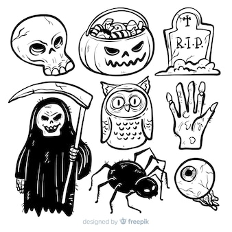 Halloween elements collection in hand drawn style