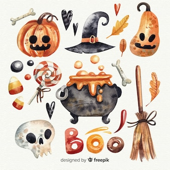 Halloween elements collection in watercolor