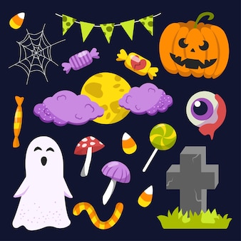 Halloween elements. hand drawn flat collection. vector illustration.