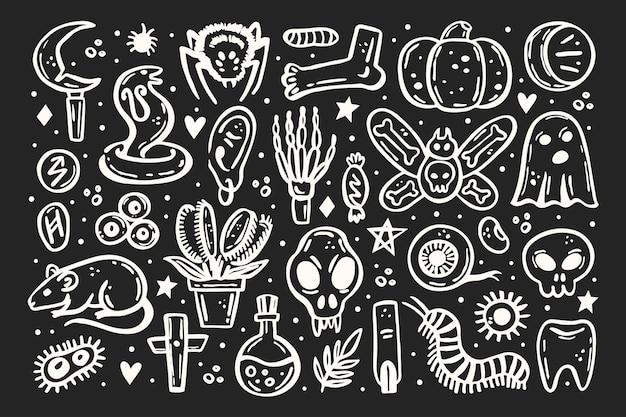 Halloween elements illustration skull druid knife insect ghost rat poison eye pumpkin bone