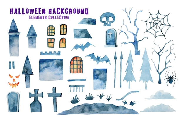 Halloween  elements isolated. halloween collection watercolor painting.