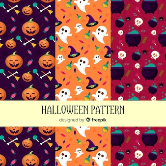 Halloween elements pattern collection in flat design