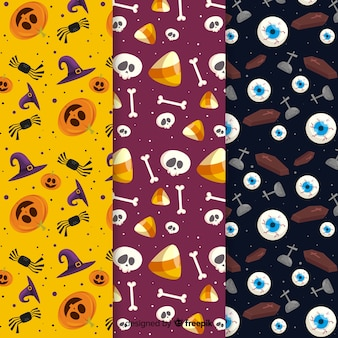 Halloween elements pattern collection flat design