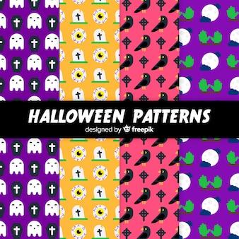 평면 디자인에 할로윈 요소 패턴 컬렉션