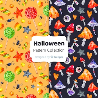 Halloween elements pattern collection in watercolor