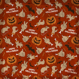 Modello senza cuciture degli elementi di halloween con le lanterne sorridenti delle mani degli animali della presa