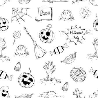 Halloween elements in seamless pattern with hand drawn style